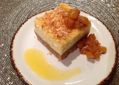 Granadilla cheesecake & Rooibos pineapple,