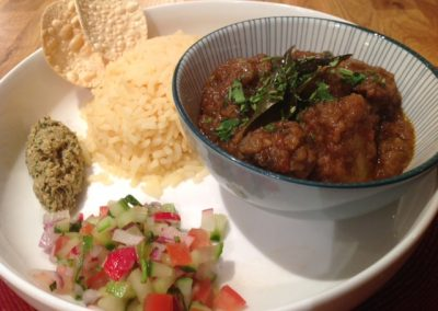 Beef curry, nut pickle & kachumber salad